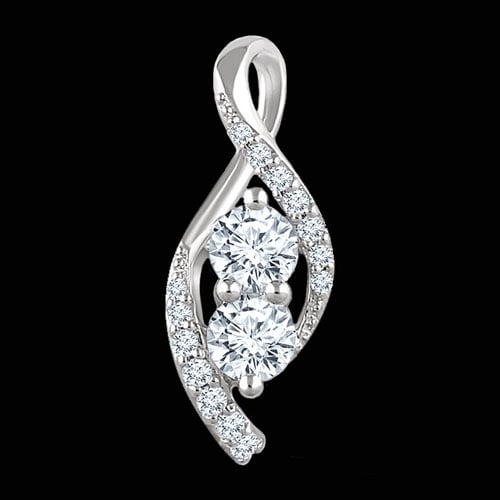 White Gold Two Stone Diamond Pendant
