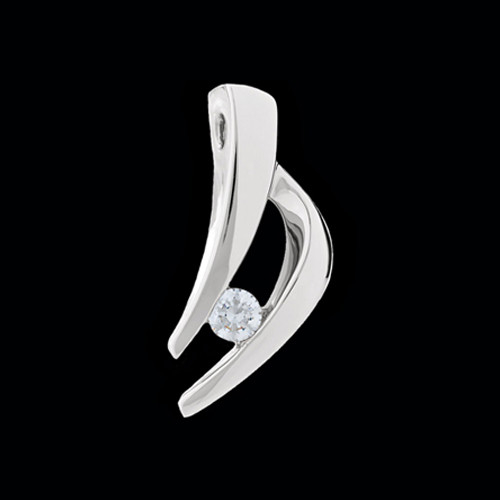 Platinum Diamond Solitaire Pendant Slide