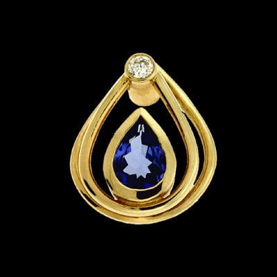 Lovely Tanzanite Diamond Pendant