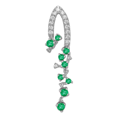White Gold Emerald Dangle Pendant