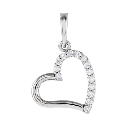 Diamond Heart Side Pendant