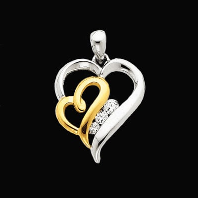 Modern Diamond Heart Pendant