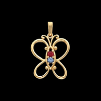 Butterfly Family Birthstone Pendant