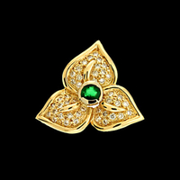 Gemstone Pendants Diamond Emerald Leaf Pendant