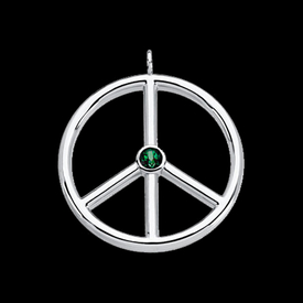 Platinum Emerald Peace Sign Pendant