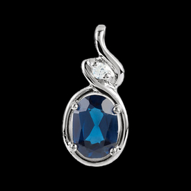 Platinum Gemstone & Diamond Pendant