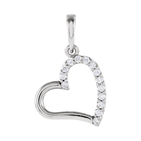 Diamond Pendants Diamond Heart Side Pendant