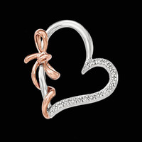 Diamond Pendants Two Tone Heart with Bow Pendant