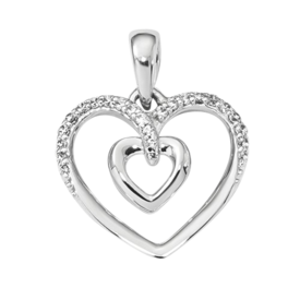 Diamond Pendants White Gold Double Heart Pendant