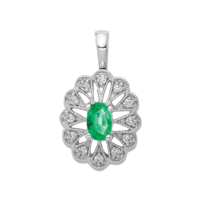 Gemstone Pendants White Gold Emerald Pendant