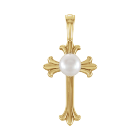 Gold Cross & Pearl Pendant