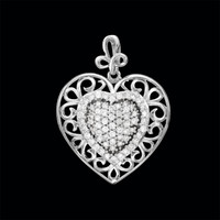Scroll Diamond Heart Pendant