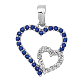 Gemstone Pendants White Gold Diamond & Sapphire Pendant