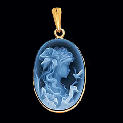 Lady with Bird Blue Agate Cameo