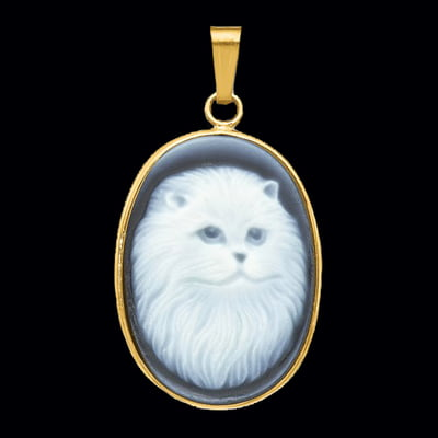 Persian Cat Blue Agate Cameo
