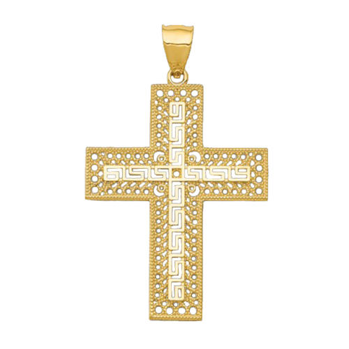 Filigree Greek Key Small Cross Pendant