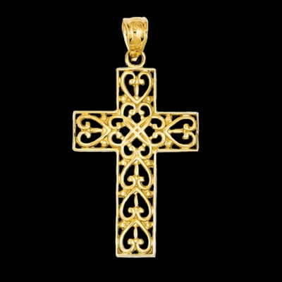 Diamond Cut Filigree Cross Pendant