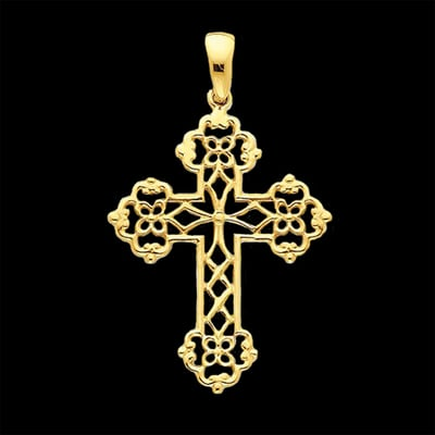 Gold Lacey Cross Pendant