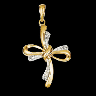 Gold Bow Design Cross Pendant
