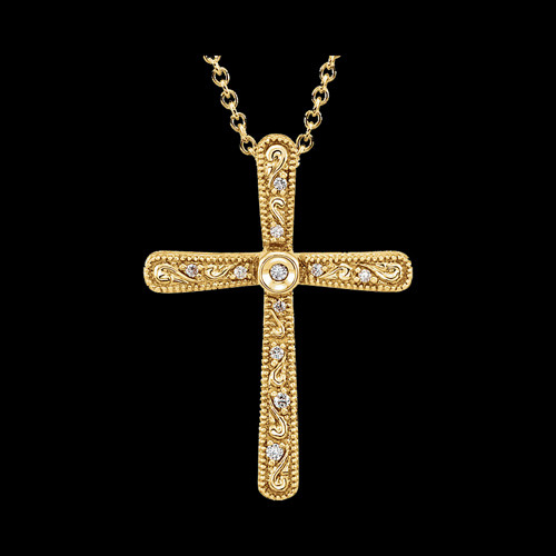 Stylish Diamond Scroll Cross Necklace