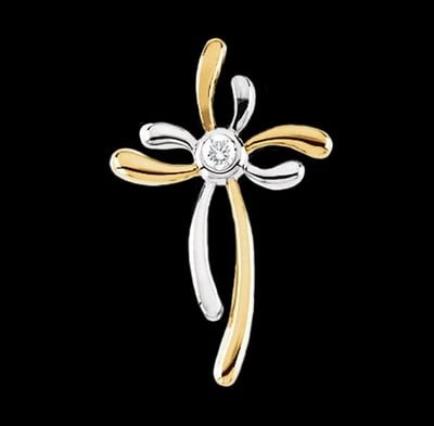 Two Tone Fancy Diamond Cross