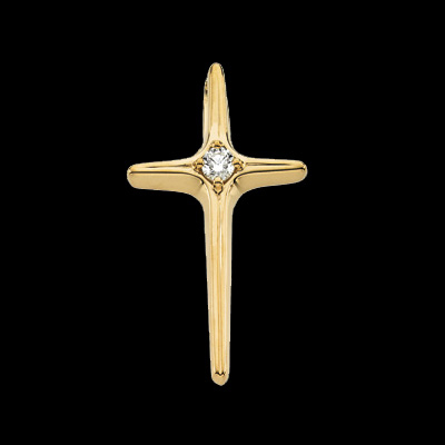 Simple 14k Gold Diamond Cross Pendant