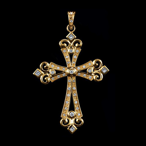 Royal Crown Diamond Cross Pendant