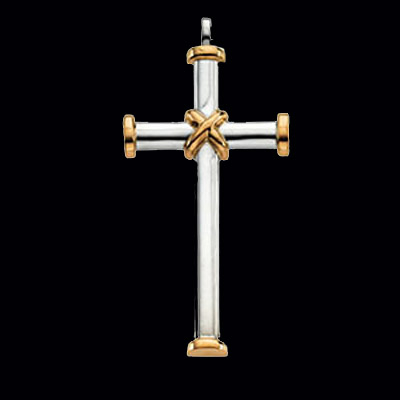 Large Two Tone Cross Pendant