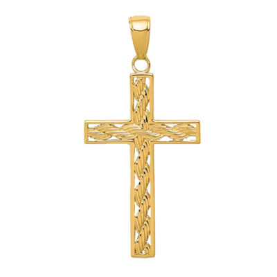 Gold Rope Cross Pendant
