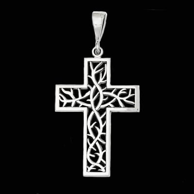White Gold Thorn Cross