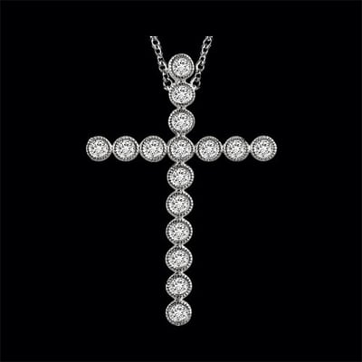 Bead Border Diamond Cross Pendant