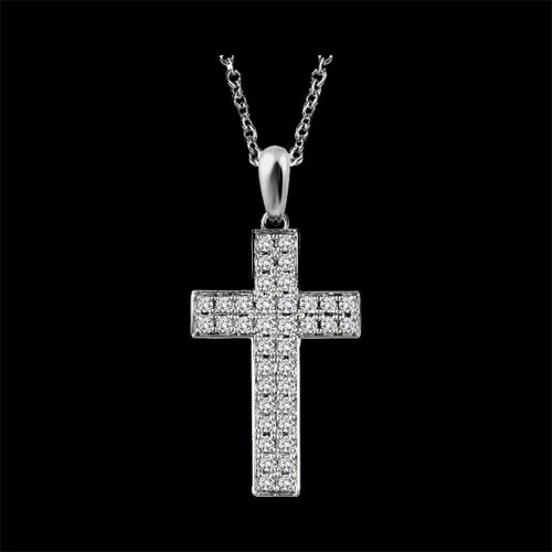 Double Row Diamond Cross Pendant
