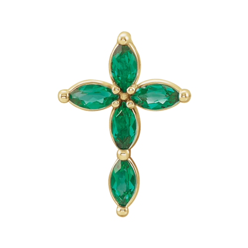 Emerald Marquise Cross Pendant