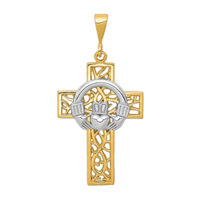 Celtic Vine Gold Cross Pendant