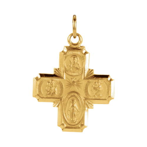 Gold Four-Way Cross Pendant