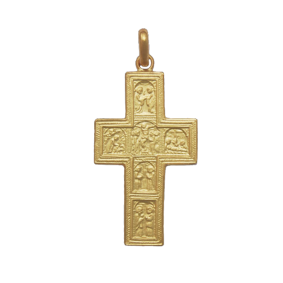 18K Gold Processionale Large Cross Pendant