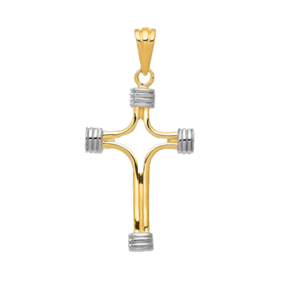 Modern Two Tone Cross Pendant