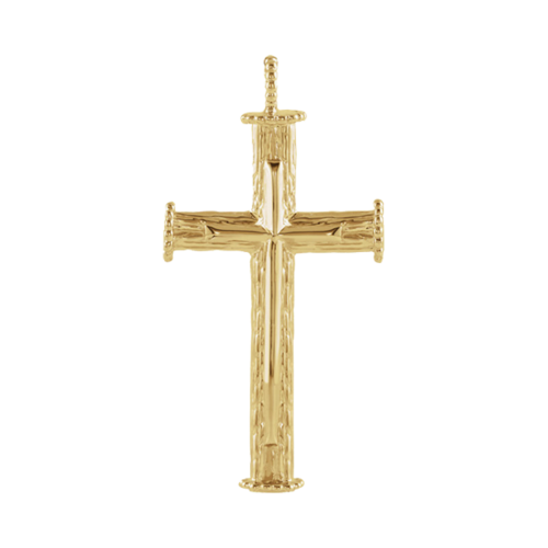 14k Elongated Cross Pendant