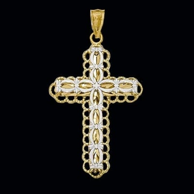 14k Two Tone Gold Fancy Cross