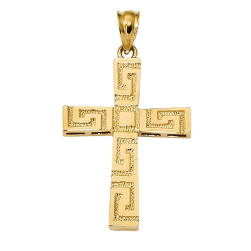 Polished Greek Key Cross