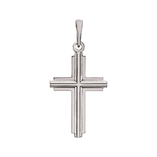 Platinum Traditional Design Cross Pendant