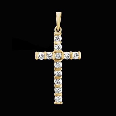 Bar Design Diamond Cross Pendant