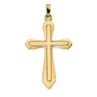 Gold Cross Pendant Polished & Satin Cross Pendant