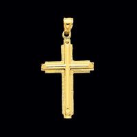 Gold Latin Design Cross Pendant