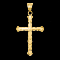 Gold Diamond Cut Cross Pendant