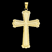 Diamond Cut Diagonal Cross Pendant