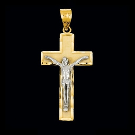 Classic Two Tone Crucifix Pendant
