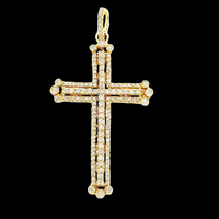 Diamond Cross Large Budded Diamond Cross Pendant