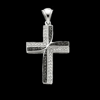 White Gold Black White Diamond Cross