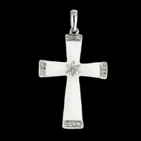 Diamond Cross Unique White Agate & Diamond Cross Pendant